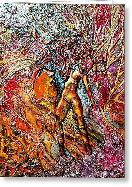 God Reliefs Greeting Cards - God Admires Woman Greeting Card by Bob Money