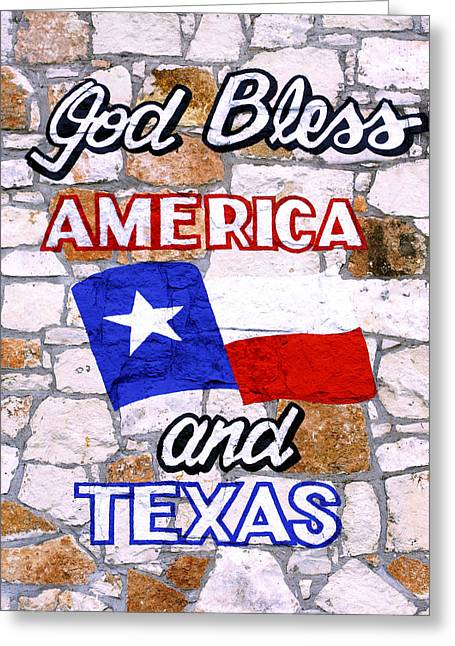 God Bless America Greeting Cards - God Bless America and Texas 2 Greeting Card by Marilyn Hunt