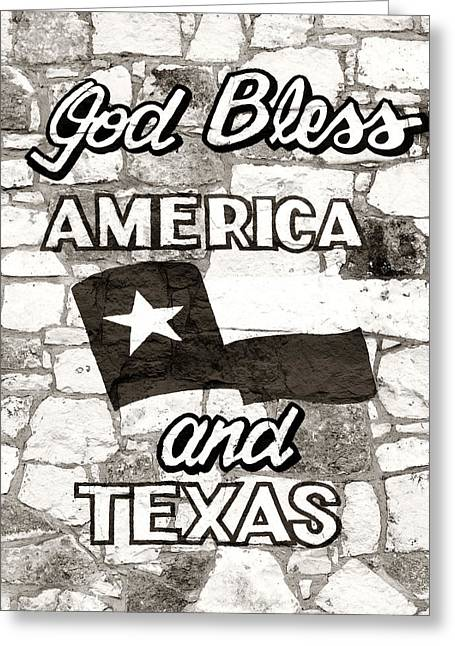 God Bless America Greeting Cards - God Bless America and Texas Greeting Card by Marilyn Hunt