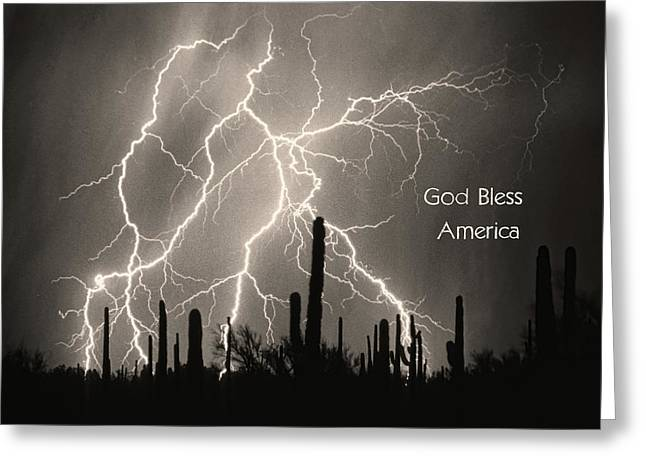 The Lightning Man Greeting Cards - God Bless America BW Lightning Storm in the USA Desert Greeting Card by James BO  Insogna