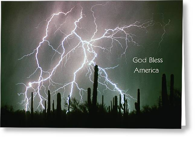 Lightning Bolt Pictures Greeting Cards - God Bless America Color Lightning Storm in the USA Desert Greeting Card by James BO  Insogna