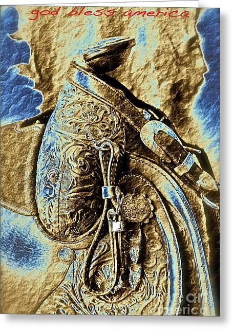 Saddle Digital Greeting Cards - God Bless America Greeting Card by Gwyn Newcombe