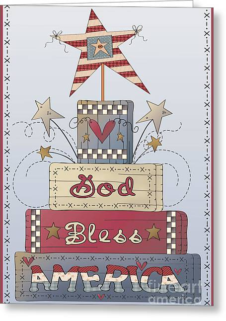 4th Of July Prints Greeting Cards - God Bless America-JP2839 Greeting Card by Jean Plout