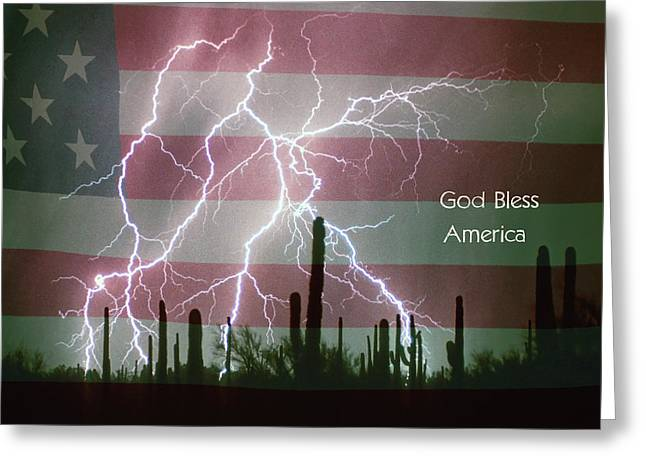 Lightning Bolt Pictures Greeting Cards - God Bless America Red White Blue Lightning Storm Greeting Card by James BO  Insogna