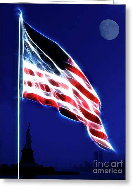 God Bless America Greeting Card by Wingsdomain Art and Photography