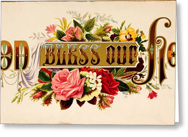 Jesus Greeting Cards - God bless Our Home vintage Litho Greeting Card by Jon Neidert