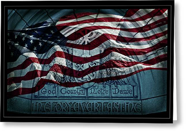 Monuments Greeting Cards - God Country Notre Dame American Flag Greeting Card by John Stephens