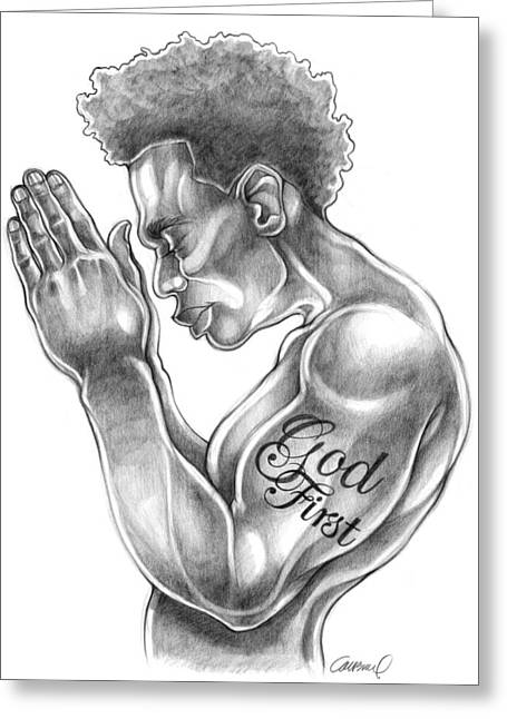 African-american Drawings Greeting Cards - God First Greeting Card by Michael Colbert