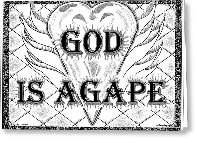 Scripture Drawings Greeting Cards - God Is Love - Agape Greeting Card by Glenn McCarthy Art and Photography