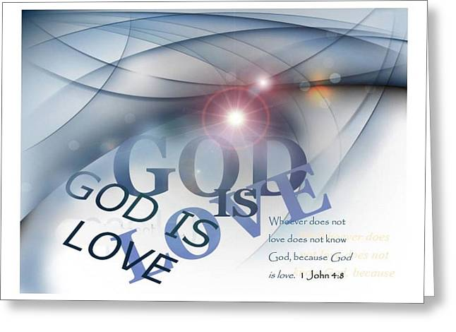 Calligraphy Print Mixed Media Greeting Cards - God Is Love Greeting Card by Booker Poole