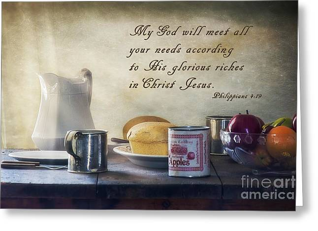 God Meets All Our Needs Greeting Card by Priscilla Burgers