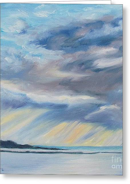 Maine Beach Greeting Cards - God Rays Greeting Card by Lynne Schulte
