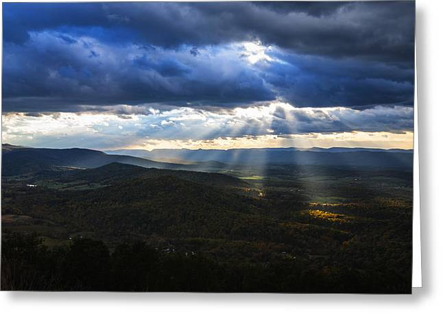 Shenandoah Valley Greeting Cards - God Rays through the clouds over Shenandoah Valley in Virginia USA Greeting Card by Vishwanath Bhat