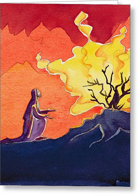 Knelt Paintings Greeting Cards - God speaks to Moses from the burning bush Greeting Card by Elizabeth Wang