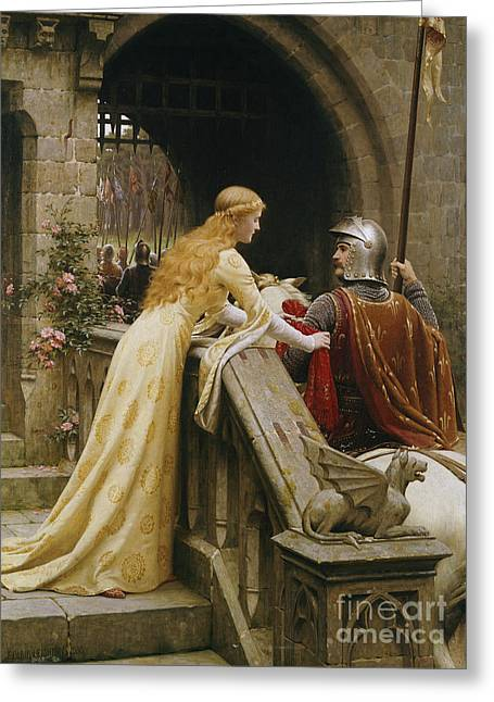Knights Castle Paintings Greeting Cards - God Speed Greeting Card by Edmund Blair Leighton