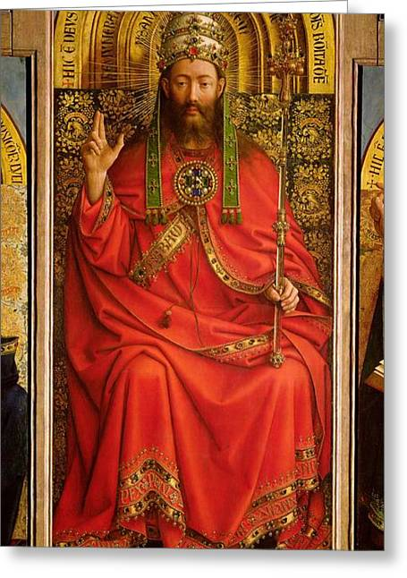 God The Father Greeting Cards - God the Father Greeting Card by Hubert and Jan Van Eyck