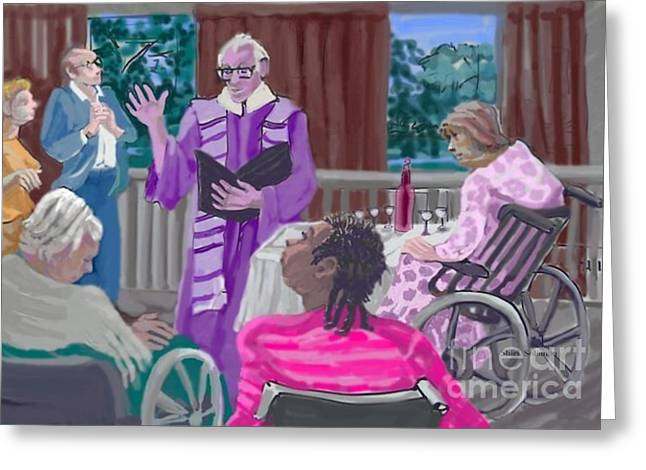 God Visits The Elderly Greeting Card by Shirl Solomon