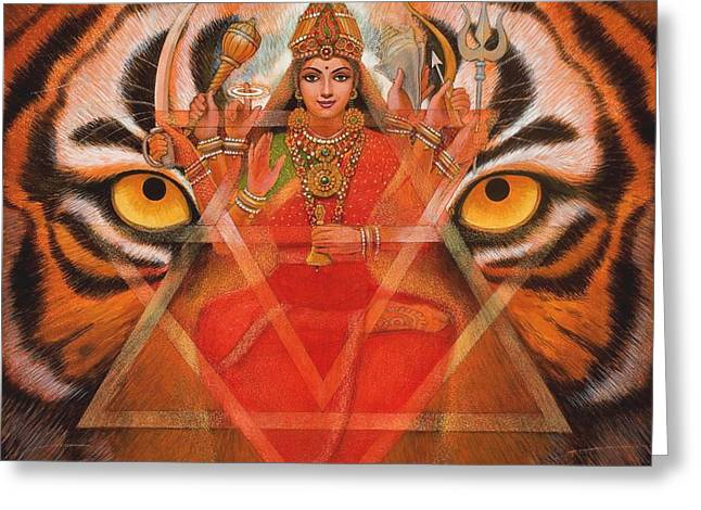 Goddess Durga Greeting Card by Sue Halstenberg