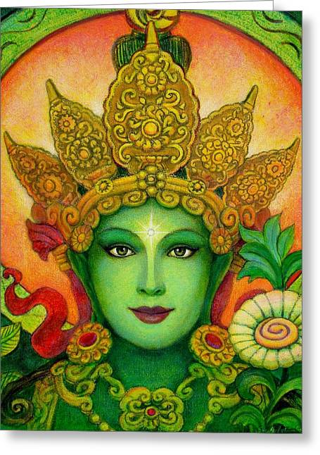 Kuan Greeting Cards - Goddess Green Taras Face Greeting Card by Sue Halstenberg