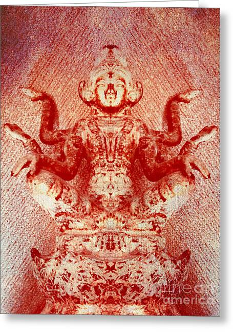 Hindu Goddess Greeting Cards - Goddess in Red Greeting Card by Heather Joyce Morrill