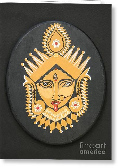 Hindu Goddess Paintings Greeting Cards - Goddess Kali Greeting Card by Michele Arista