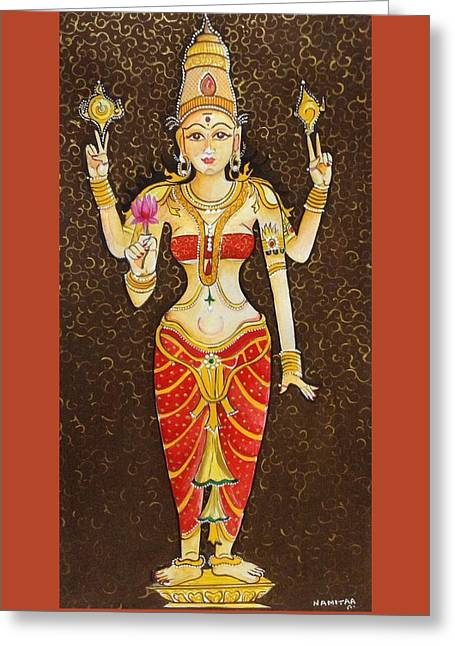 Hindu Goddess Greeting Cards - Goddess Lakhmi Greeting Card by Namitaa Pradeep