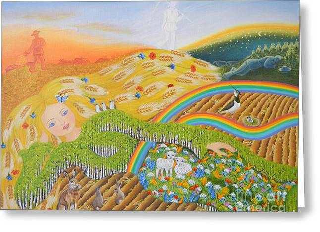 Harvest Art Greeting Cards - Goddess Of Earth Greeting Card by Loreta Mickiene