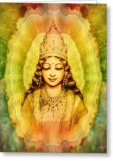 Angel Art Greeting Cards - Goddess of Gems Greeting Card by Ananda Vdovic