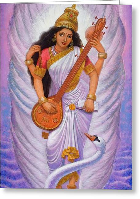 Goddess Art Greeting Cards - Goddess Saraswati Greeting Card by Sue Halstenberg