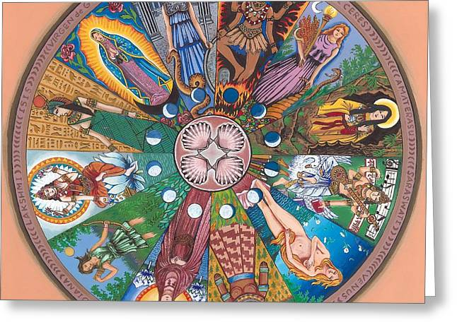 Goddess Kali Greeting Cards - Goddess Wheel Guadalupe Greeting Card by James Roderick