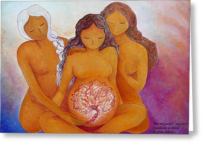 Goddess Birth Art Greeting Cards - Goddesses in birth  Greeting Card by Gioia Albano