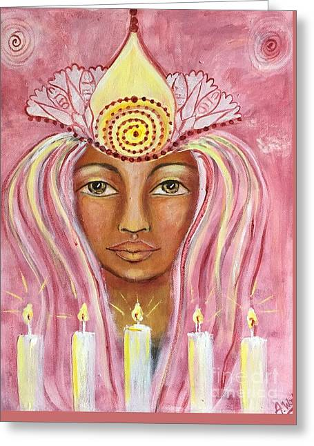 Souls Greeting Cards - Godess in pink. Greeting Card by Annelie Wadin