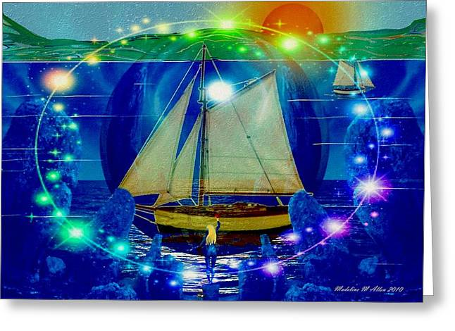 Tall Ships Greeting Cards - Godess Of The Sea Greeting Card by Madeline  Allen - SmudgeArt