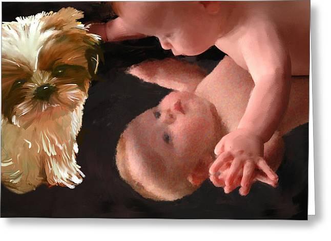 Dogs Digital Greeting Cards - Gods Gift Greeting Card by Richard Okun