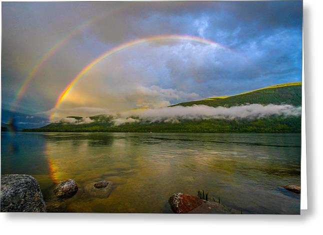 Double Rainbow Greeting Cards - Gods Handiwork Greeting Card by Joy McAdams