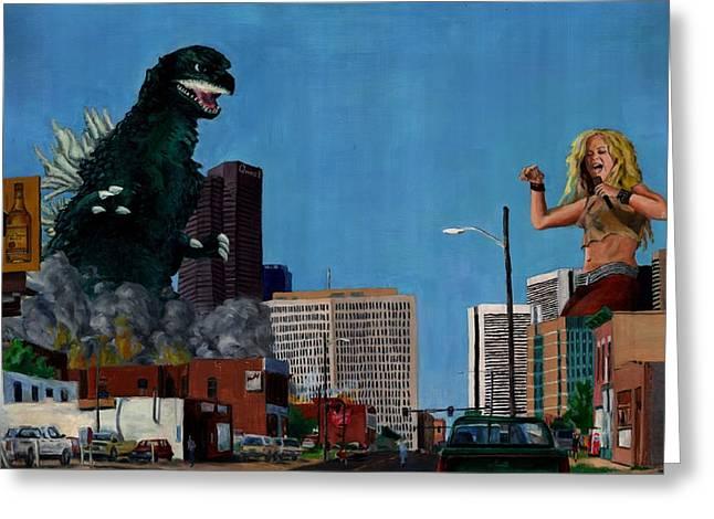 Shakira Paintings Greeting Cards - Godzilla versus Shakira Greeting Card by Thomas Weeks