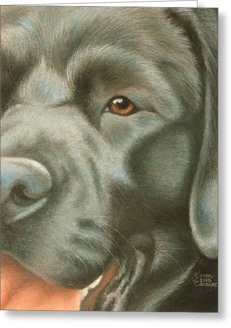 Doggy Pastels Greeting Cards - Goggie Black Lab Greeting Card by Karen Coombes