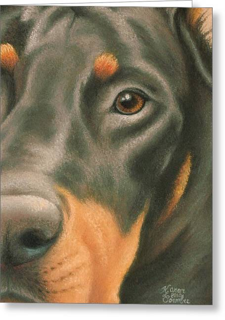 Doggy Pastels Greeting Cards - Goggie Doberman Greeting Card by Karen Coombes