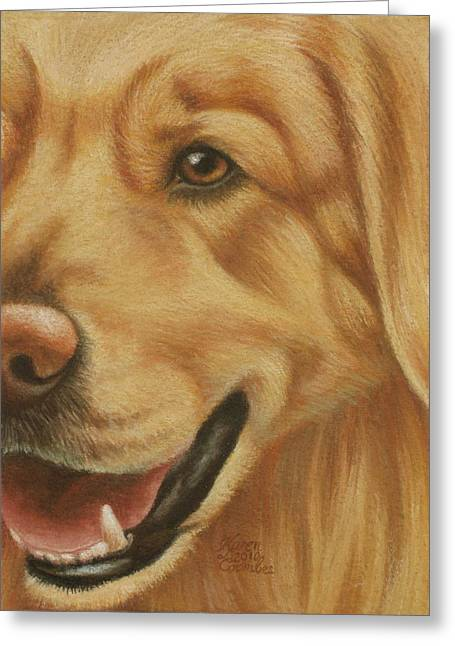 Doggy Pastels Greeting Cards - Goggie Golden Greeting Card by Karen Coombes