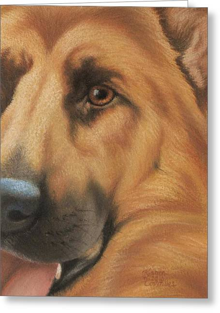 Wolf Pastels Greeting Cards - Goggie Shepherd Greeting Card by Karen Coombes