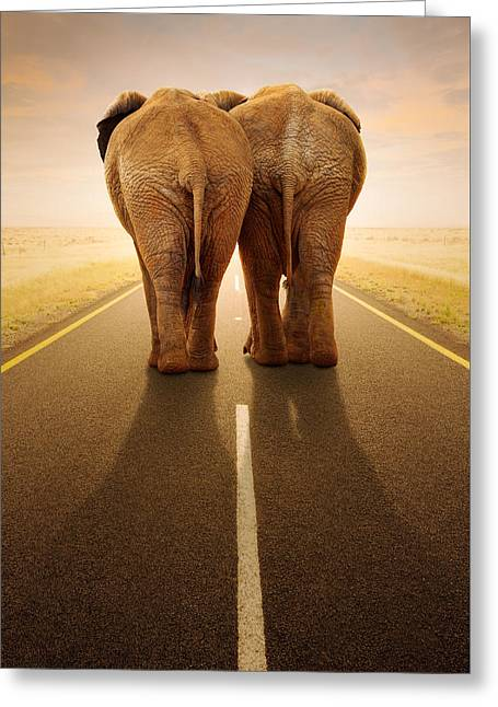 Straight Greeting Cards - Going away together / travelling by road Greeting Card by Johan Swanepoel