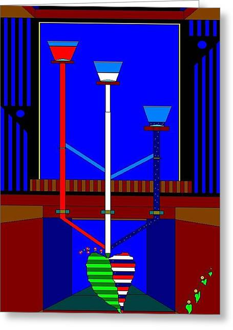 Etc. Paintings Greeting Cards - Going Green In The Red White And Blue Greeting Card by Richard Magin