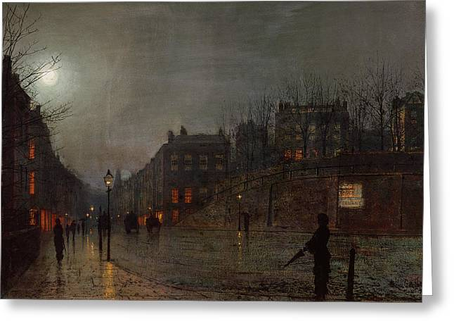 Grimshaw; John Atkinson (1836-93) Greeting Cards - Going Home at Dusk Greeting Card by John Atkinson Grimshaw