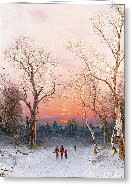 Norwegian Sunset Greeting Cards - Going Home Greeting Card by Nils Hans Christiansen