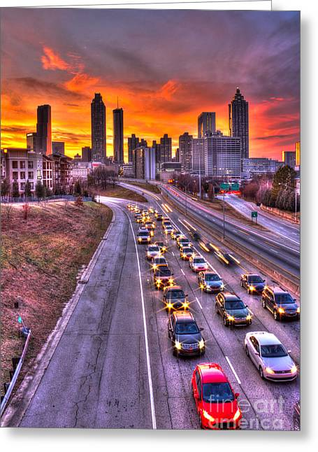 Grady Greeting Cards - Going NoWhere Fast 2 Atlanta Sunset Traffic Greeting Card by Reid Callaway
