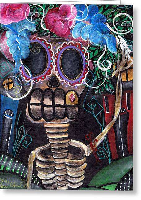 Whimsical Skull Greeting Cards - Going Out Greeting Card by  Abril Andrade Griffith