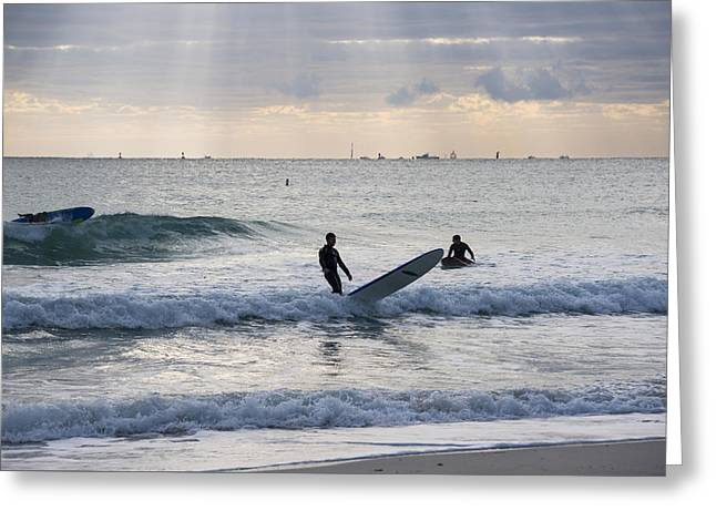 Going Surfing On Miami Beach Florida Sunrays Mid Fall Greeting Card by Toby McGuire