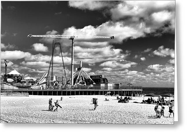 Casino Pier Greeting Cards - Going to the Beach mono Greeting Card by John Rizzuto