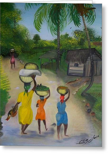 Nicole Jean-louis Greeting Cards - Going To The Marketplace 2 Greeting Card by Nicole Jean-Louis