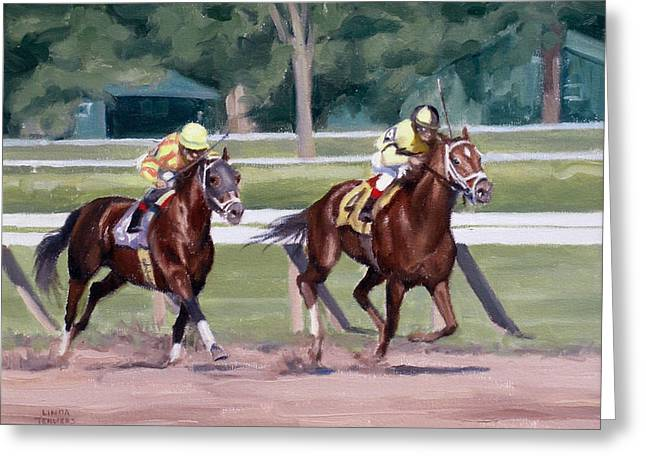 Jockey Greeting Cards - Going to the Whip Greeting Card by Linda Tenukas